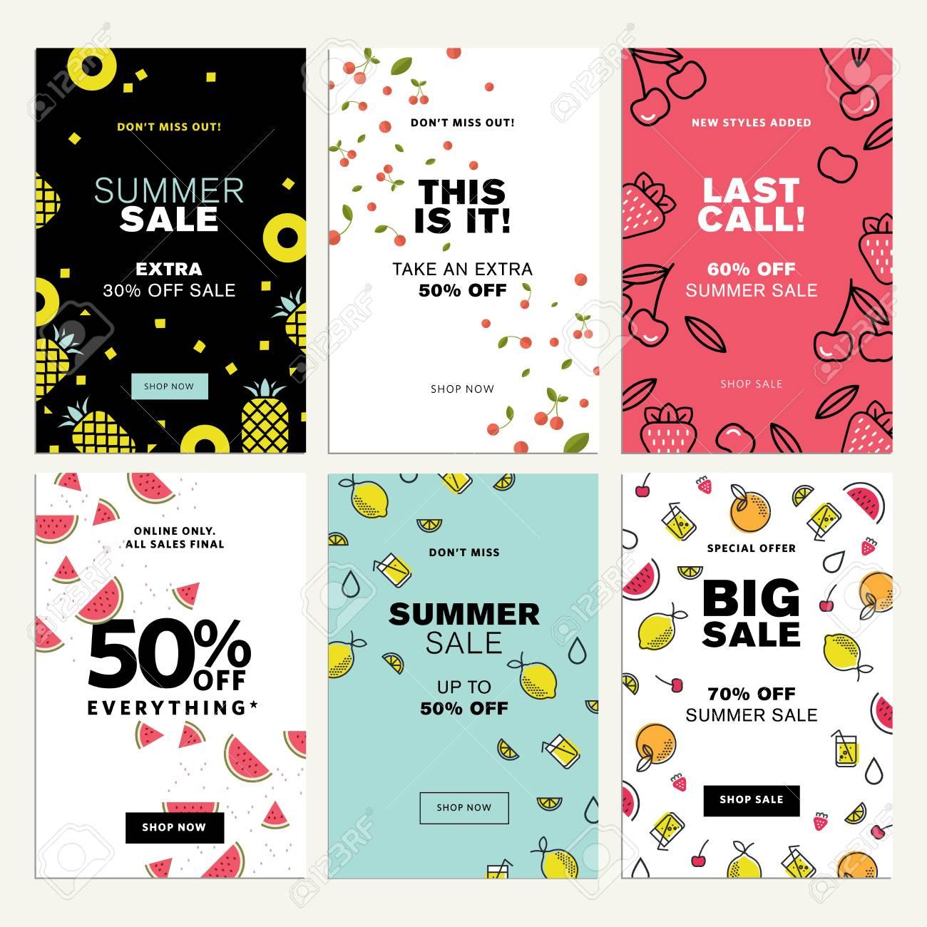Mobile Sale Banner Templates Vector Illustrations Of Online