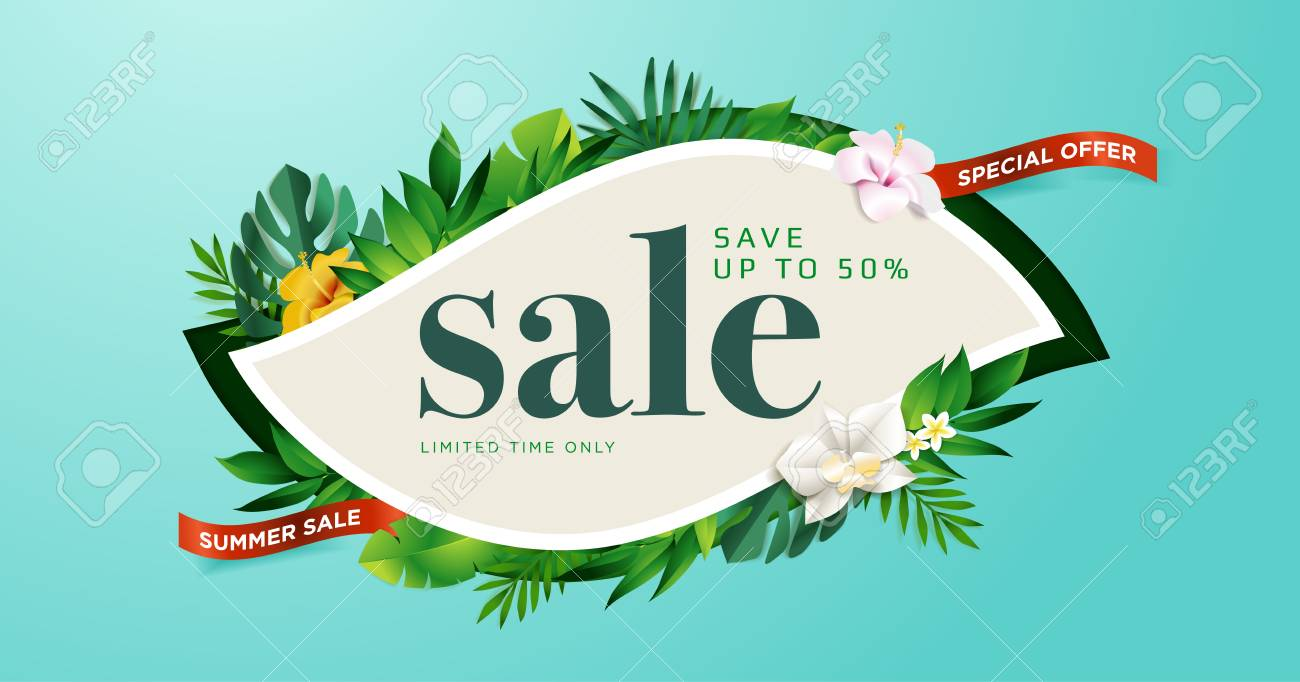 Summer sale. Vector illustration concept for mobile and web banner, poster, online shopping ads, social media and networking, marketing material. - 103283211