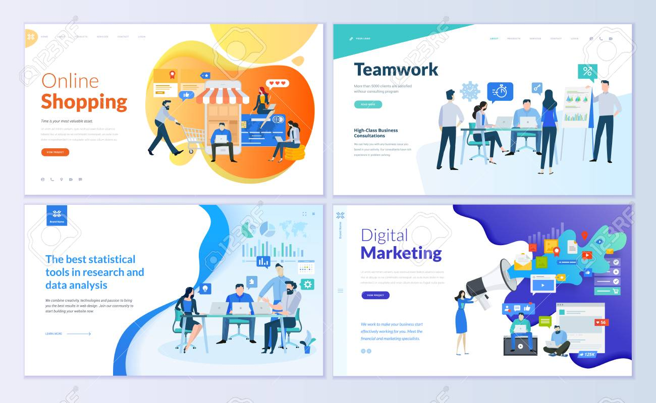 Set of web page design templates for online shopping, digital marketing, teamwork, business strategy and analytics. Modern vector illustration concepts for website and mobile website development. - 103314687