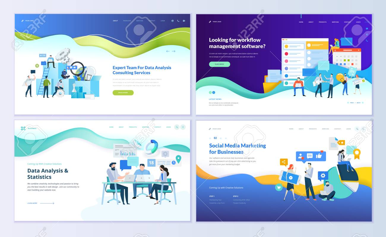 Set of web page design templates for data analysis, management app, consulting, social media marketing. Modern vector illustration concepts for website and mobile website development. - 103314688