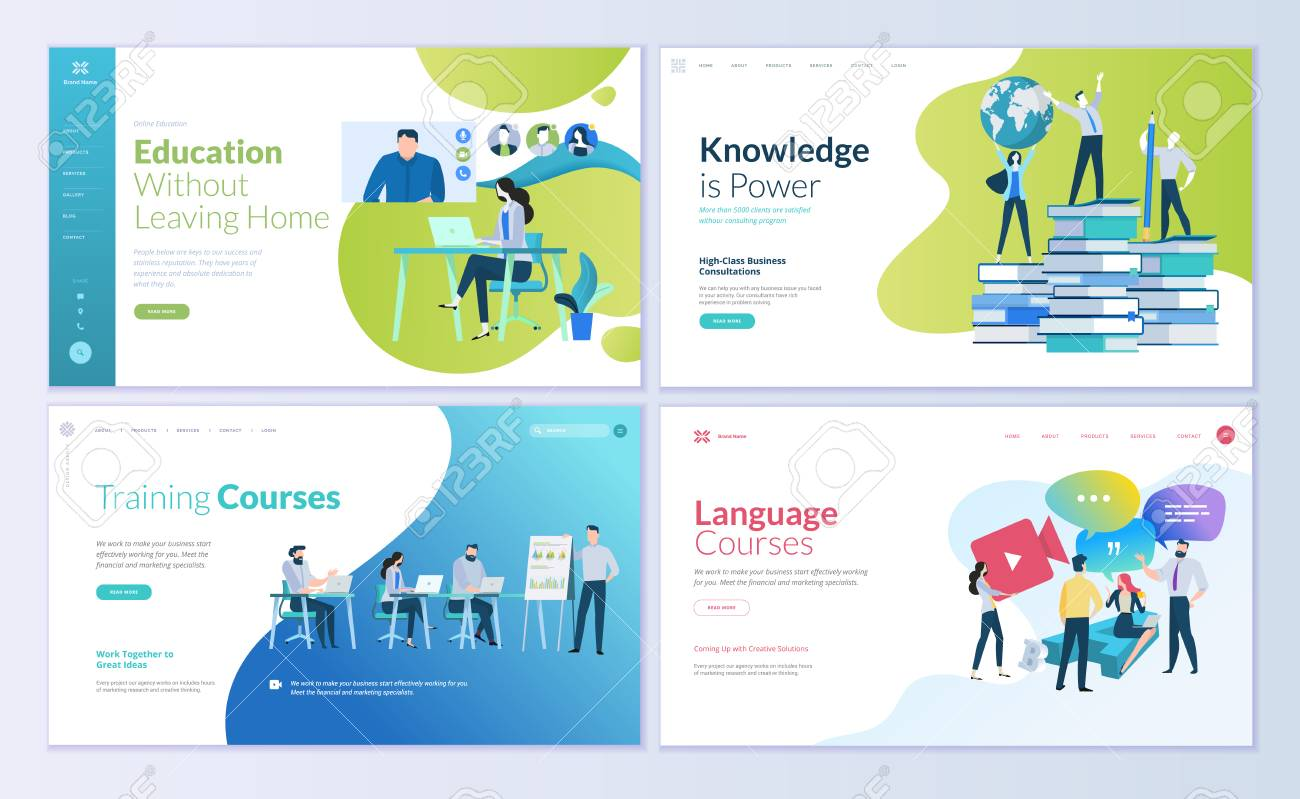Set of web page design templates for distance education, consulting, training, language courses. Modern vector illustration concepts for website and mobile website development. - 104758675