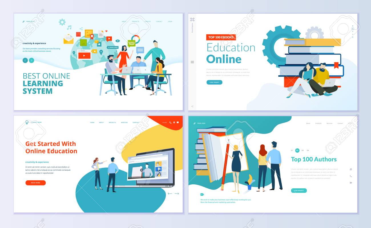 Set of web page design templates for e-learning, online education, e-book. Modern vector illustration concepts for website and mobile website development. - 104758678