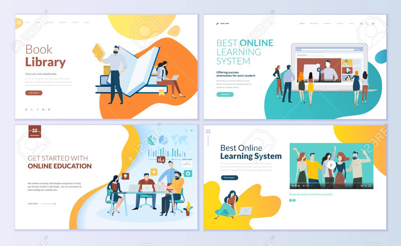 Set of web page design templates for book library, online learning, education. Modern vector illustration concepts for website and mobile website development. - 104758680