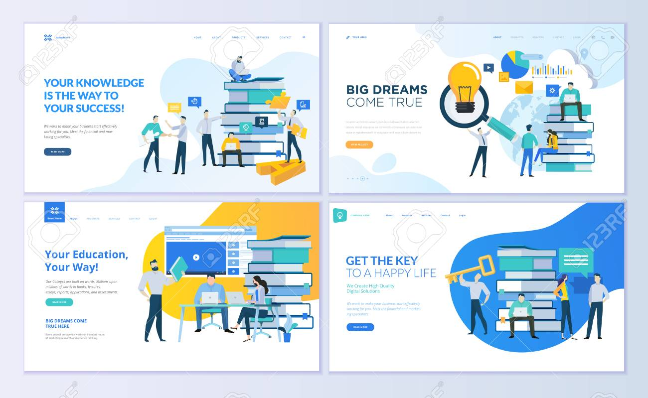 Set of web page design templates for education, know how, university, business solutions. Modern vector illustration concepts for website and mobile website development. - 104758682