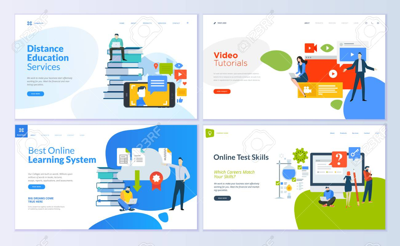 Set of web page design templates for distance education, video tutorials, e-learning, online test skills. Modern vector illustration concepts for website and mobile website development. - 104758683