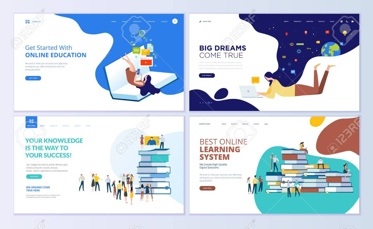 Set Of Web Page Design Templates For Online Education Training Royalty Free Cliparts Vectors And Stock Illustration Image 104758686