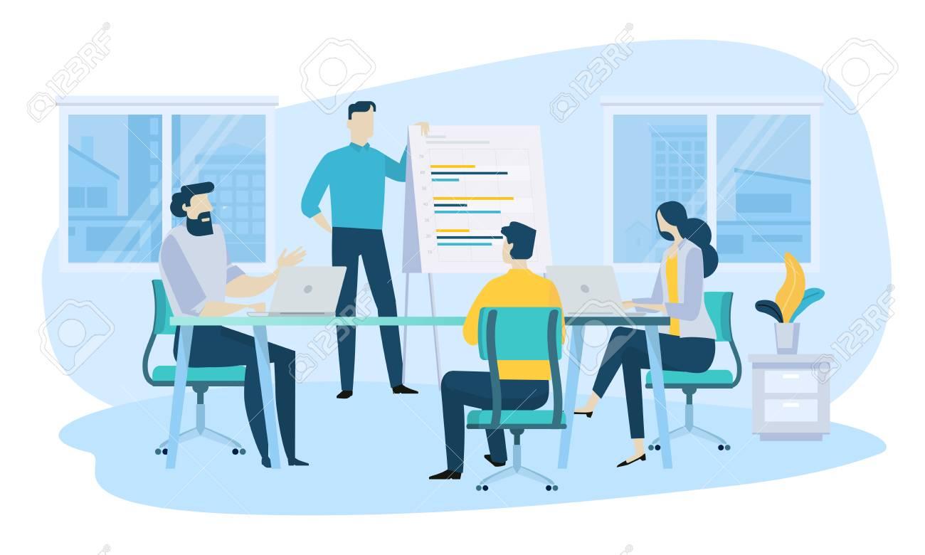 Vector illustration concept of business meeting, teamwork, training, improving professional skill. Creative flat design for web banner, marketing material, business presentation, online advertising. - 106902958
