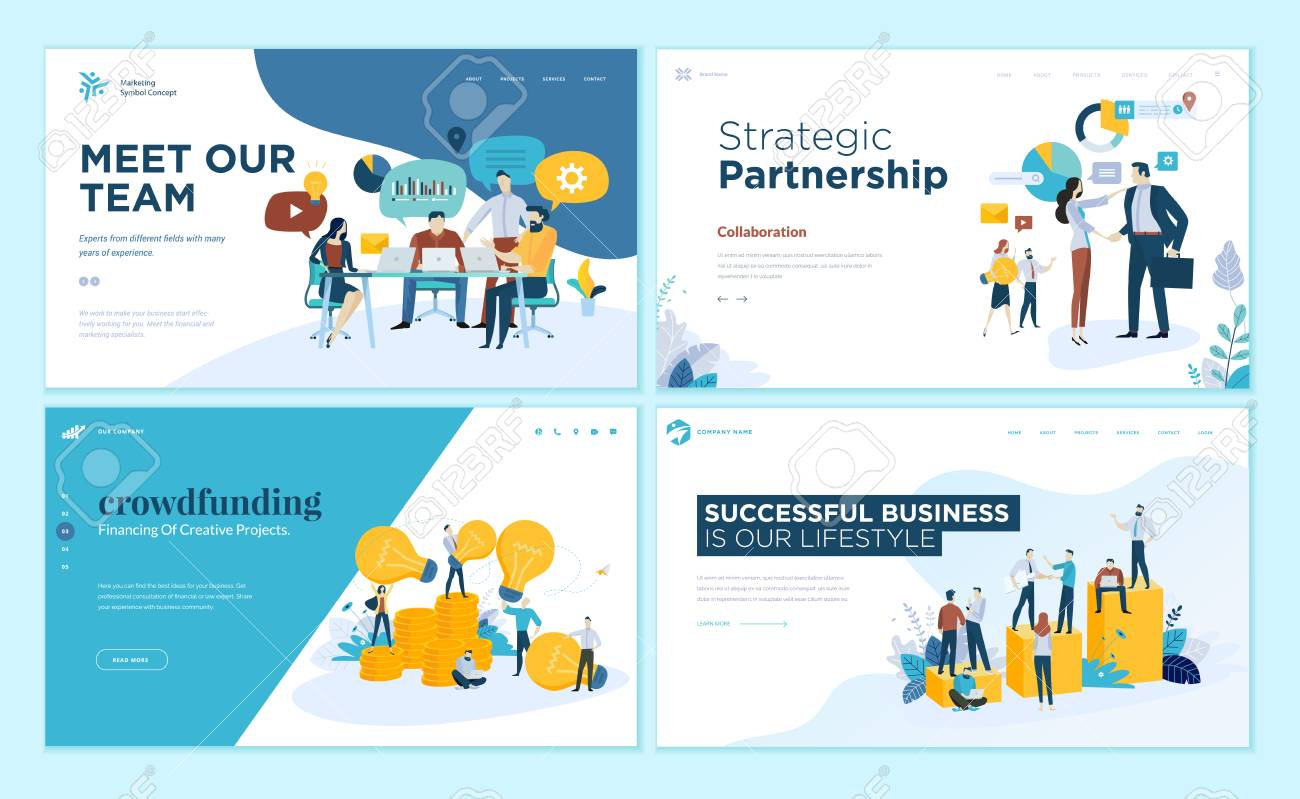 Set of web page design templates for our team, meeting and brainstorming, strategic partnership, crowdfunding, business success. Modern vector illustration concepts for website and mobile website development. - 107661753