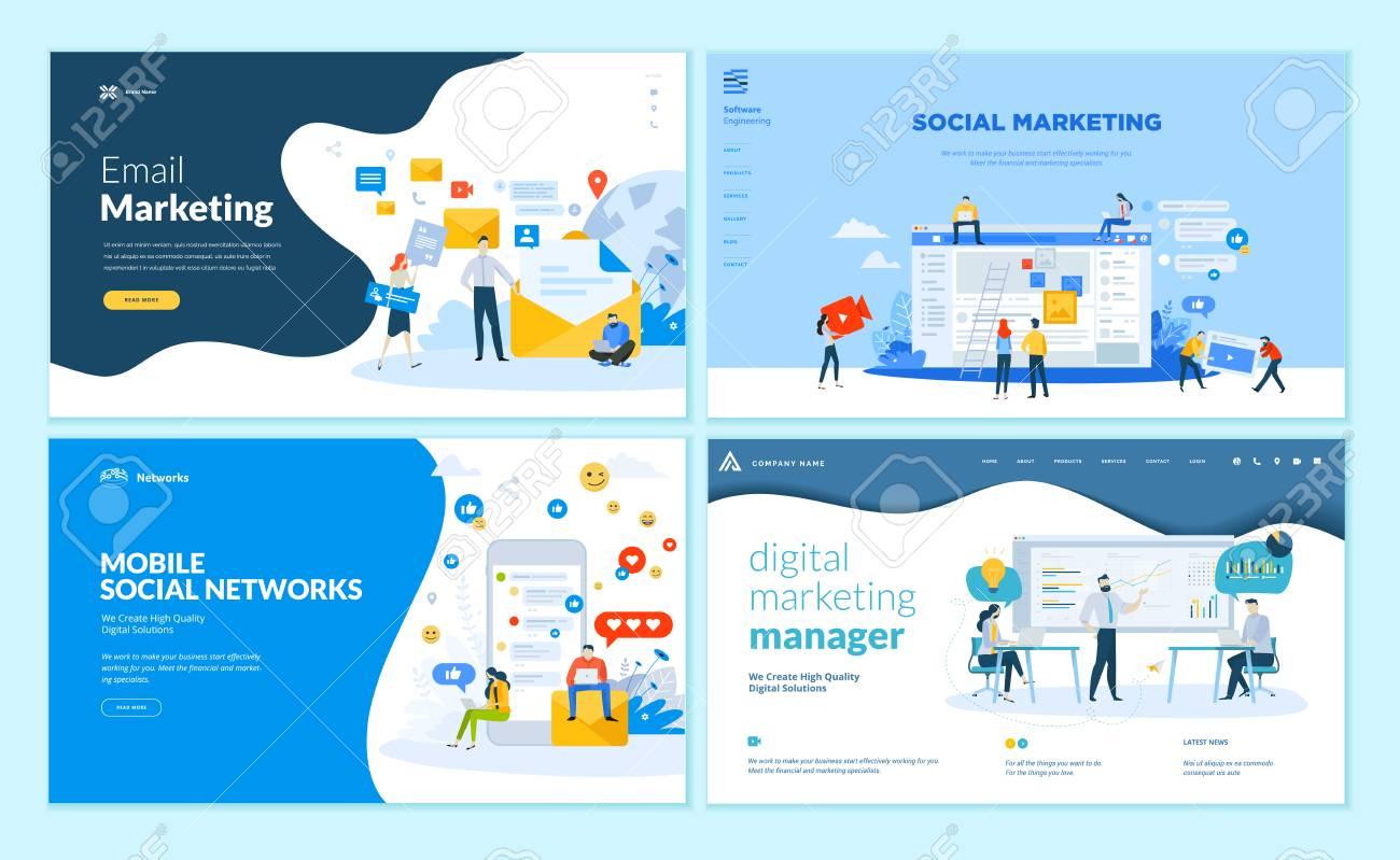 Set of web page design templates for mobile social network, internet marketing solutions. Modern vector illustration concepts for website and mobile website development. - 107661803