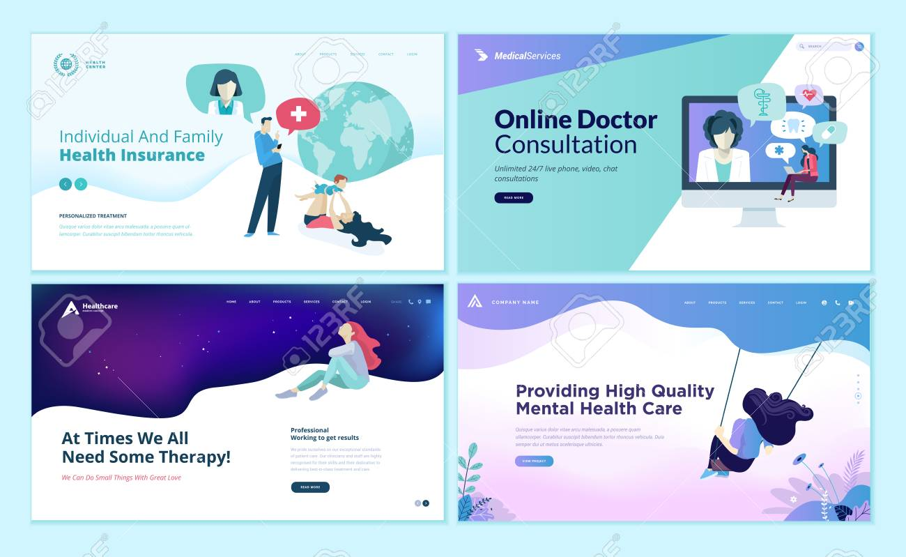 Set Of Web Page Design Templates For Medicine Health Insurance
