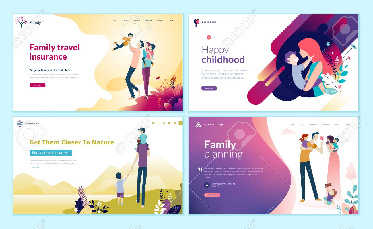 Set of web page design templates for family planning, travel insurance, nature and healthy life. - 109775067