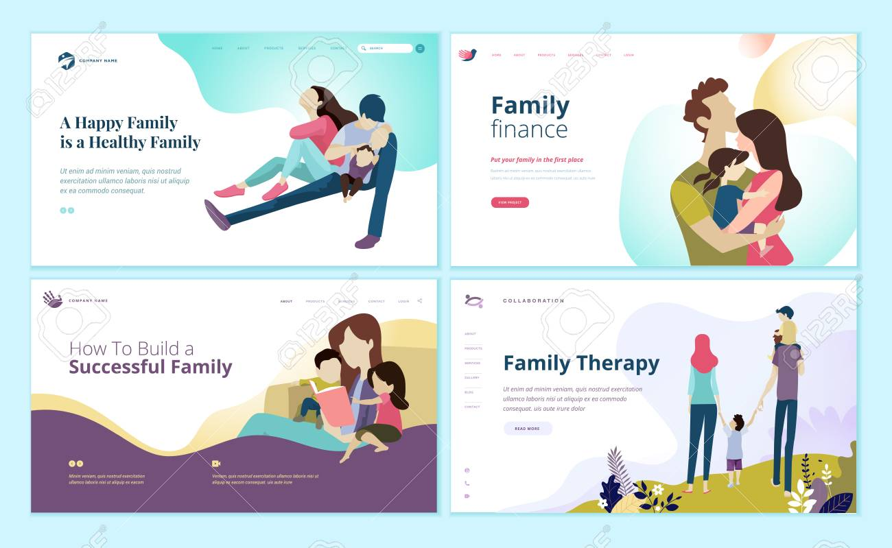 Set of web page design templates for family finance, health care, family therapy. - 109775065