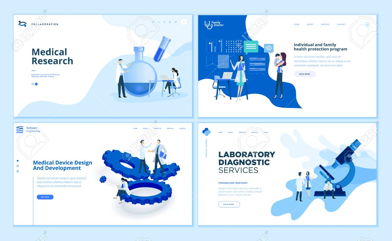 Web page design templates collection of medical research - 112322736