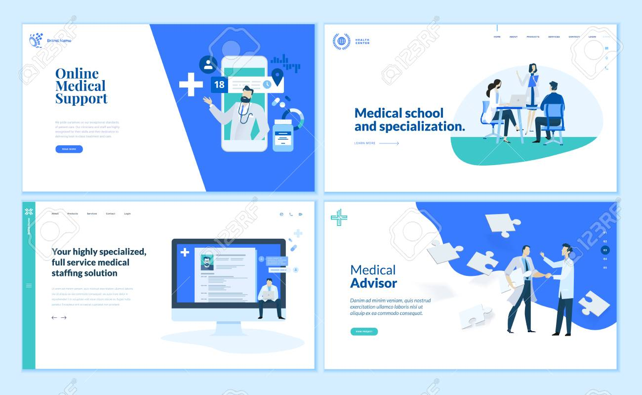 Web page design templates collection of online medical support - 112322745