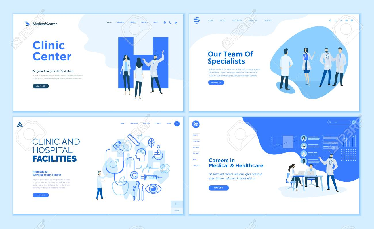 Web page design templates collection of clinic center, hospital facilities - 112322746