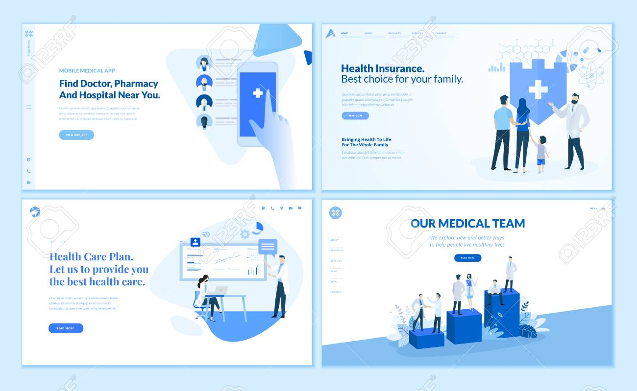 Web page design templates collection of health - 112322744