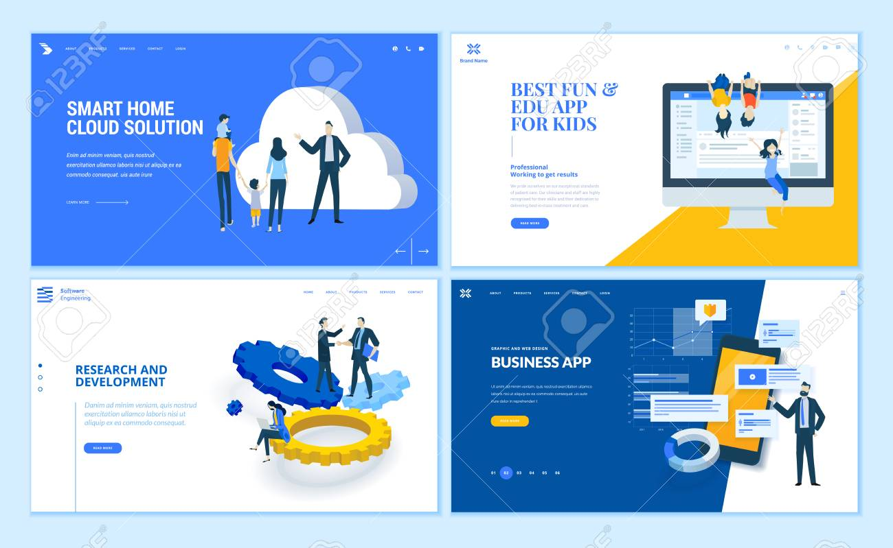 Set of flat design web page templates of business apps, research and development, home cloud solution, kids apps. Modern vector illustration concepts for website and mobile website development. - 112404852