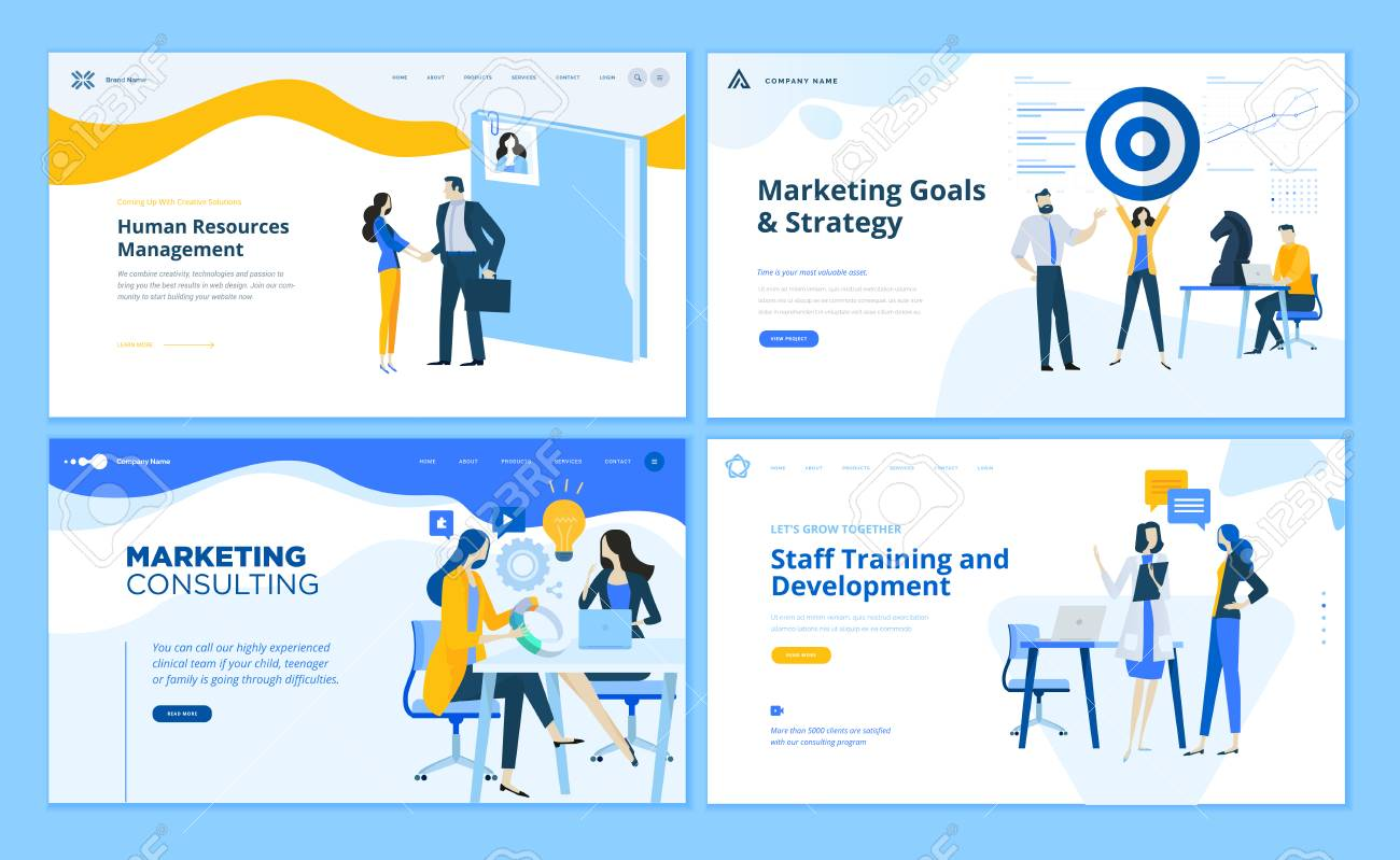 Set of flat design web page templates of marketing strategy, consulting, human resources management, staff training. Modern vector illustration concepts for website and mobile website development. - 112404878