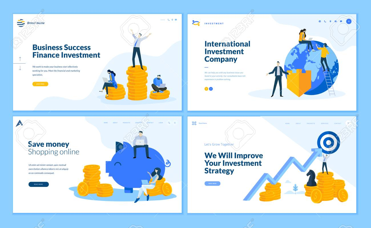Set of flat design web page templates of finance, business success, investment, online shopping. Modern vector illustration concepts for website and mobile website development. - 112404881