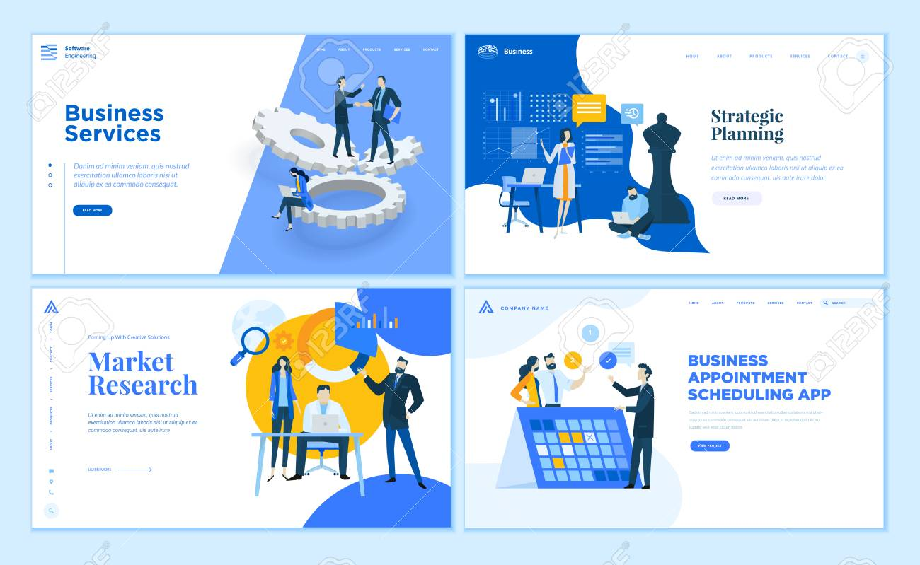 Set of flat design web page templates of business apps and services, strategic planning, market research . Modern vector illustration concepts for website and mobile website development. - 112404888