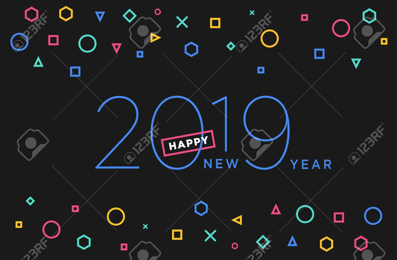 happy new year 2019 vector illustration concept for background greeting card website and