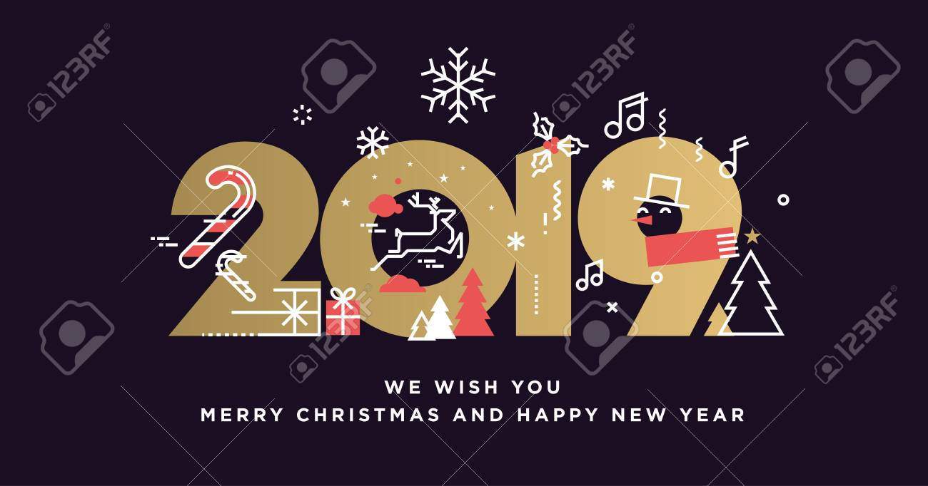 Happy New Year 2019 Vector Illustration Concept For Background