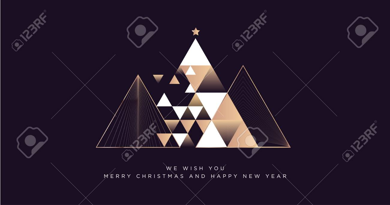 Merry Christmas and Happy New Year 2019 business greeting card. Modern vector illustration concept for background, party invitation card, website banner, social media banner, marketing material. - 113190921