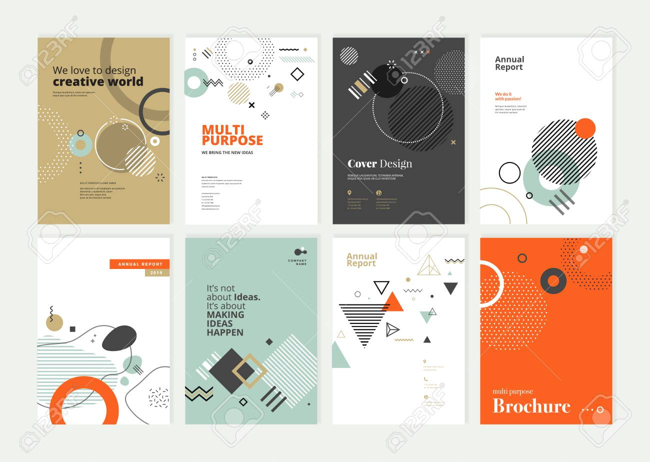 Set of brochure, annual report, flyer design templates in A4 size. - 118852799