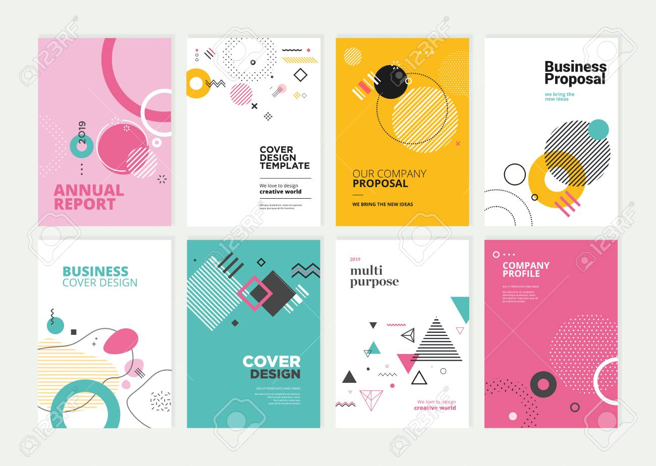 Set of brochure, annual report, flyer design templates in A4 size. - 118852805