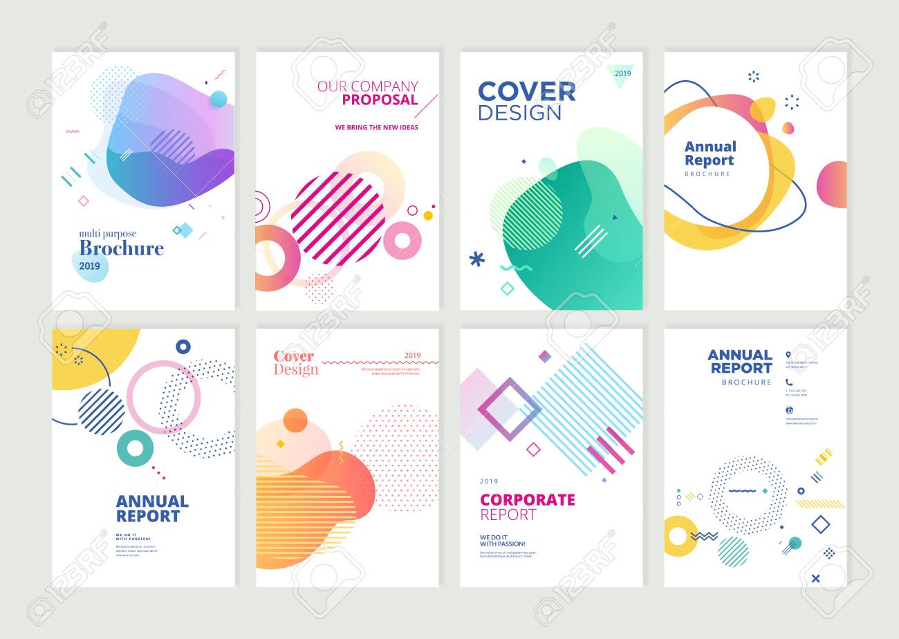 Set of brochure, annual report, flyer design templates in A4 size. - 118852803