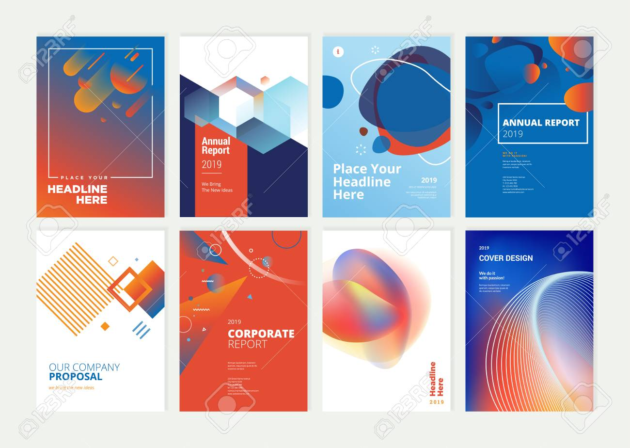 Set of brochure, annual report, flyer design templates in A4 size. - 118852806
