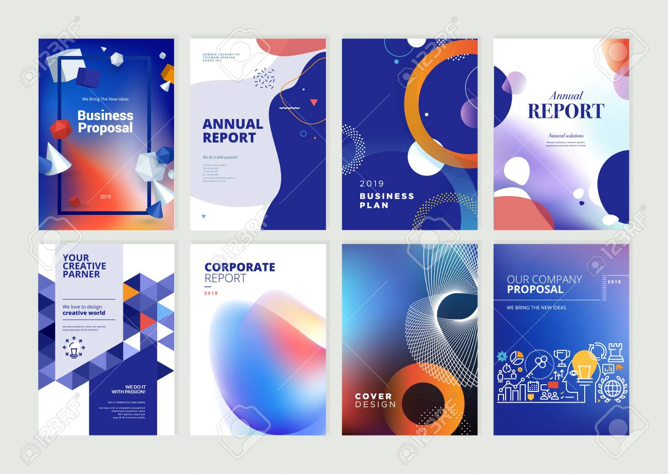 Set of brochure, annual report, flyer design templates in A4 size - 118852813