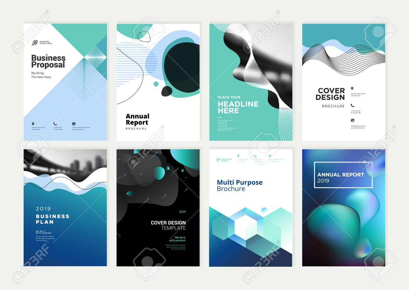 Set of brochure, annual report, flyer design templates in A4 size. - 118852811