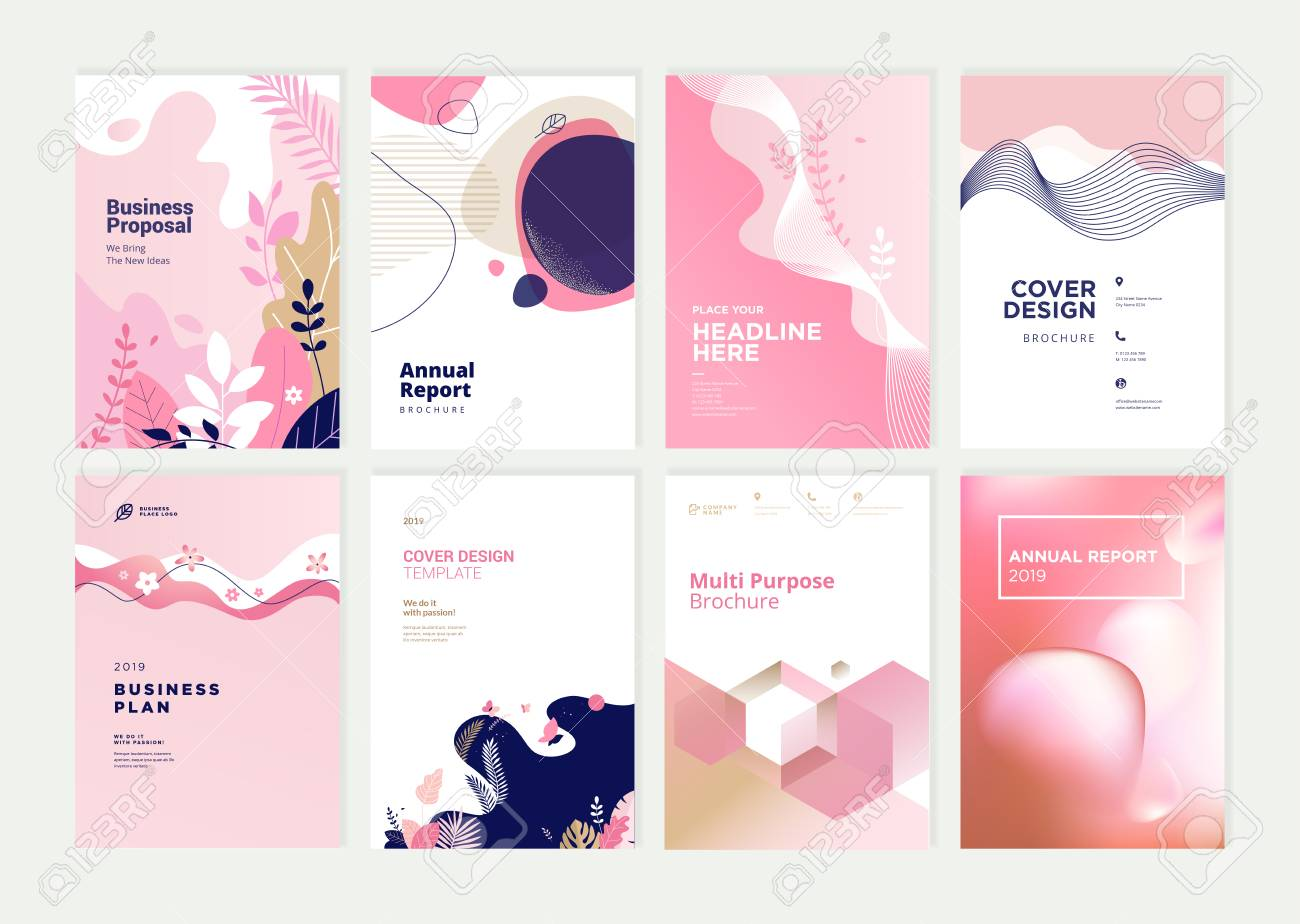 Set of brochure, annual report and cover design templates for beauty - 118853021