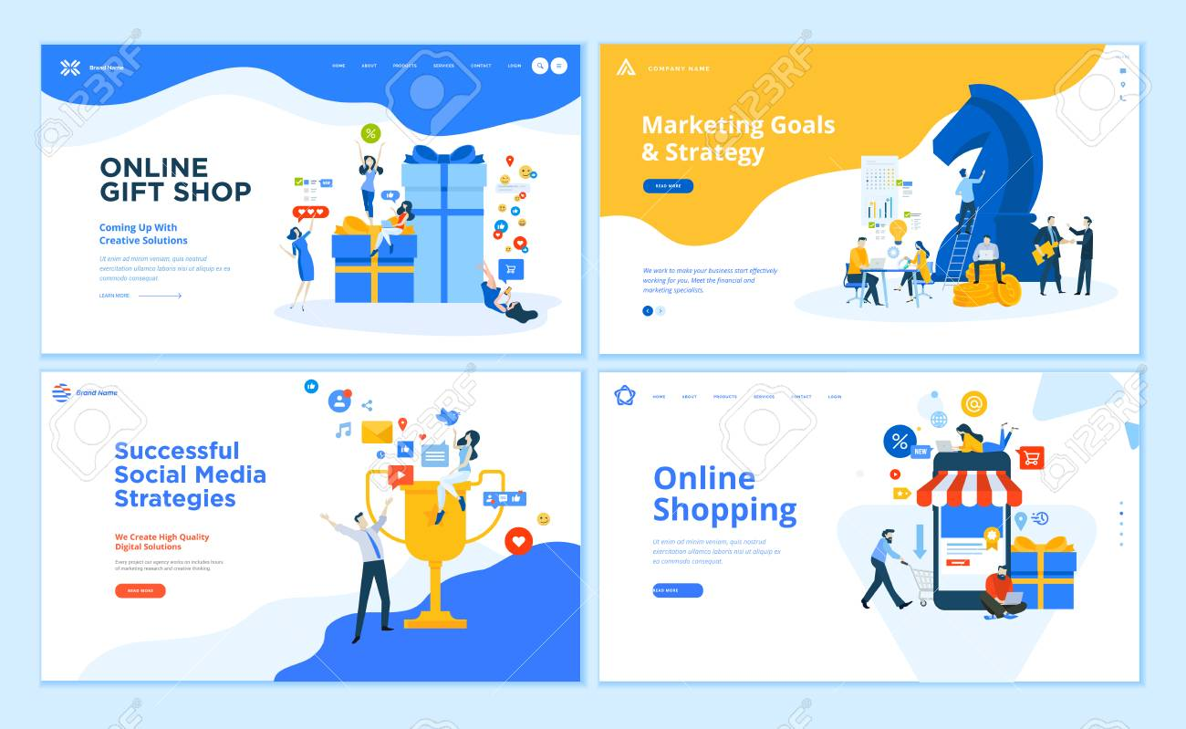 Set of flat design web page templates of social networking, business solutions, seo, project gallery - 120212419