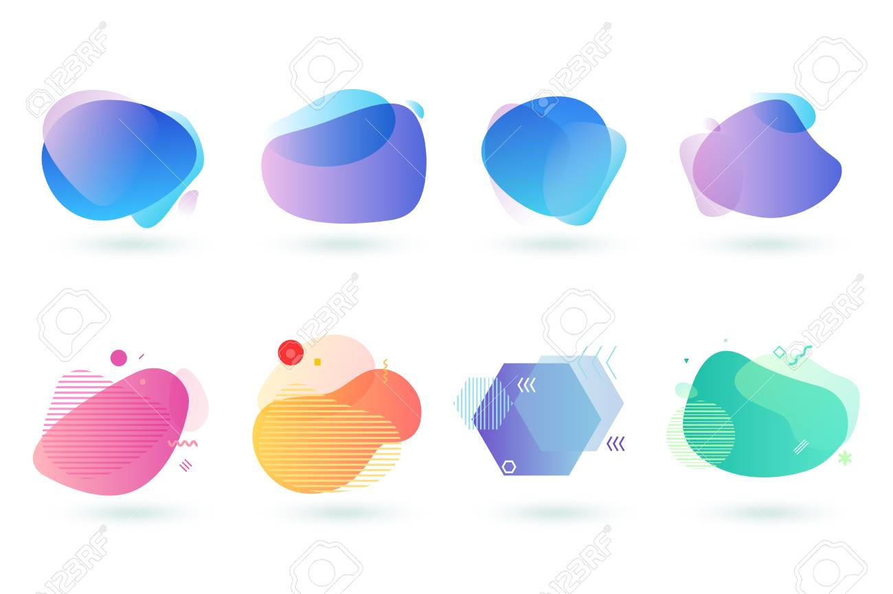 Set of abstract graphic design elements. Vector illustrations for design, website development, flyer and presentation, background, cover design, isolated on white. - 120515813