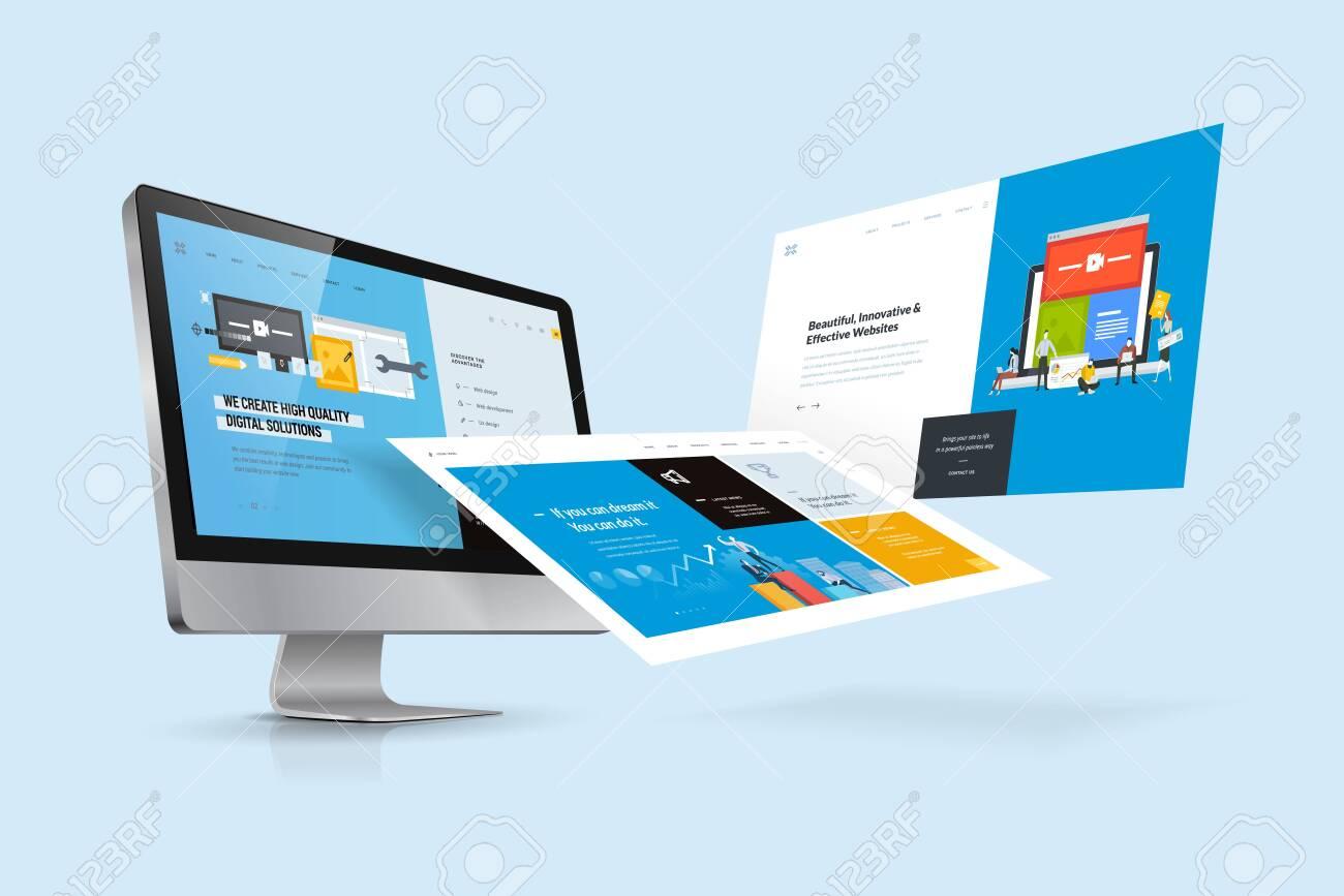 Web design template. Vector illustration concept of website design and development, app development, seo, business presentation, marketing. - 120516130