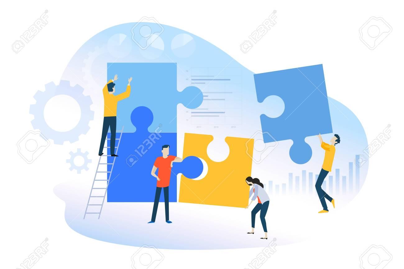Flat design concept of teamwork, team building, team management. - 128194137