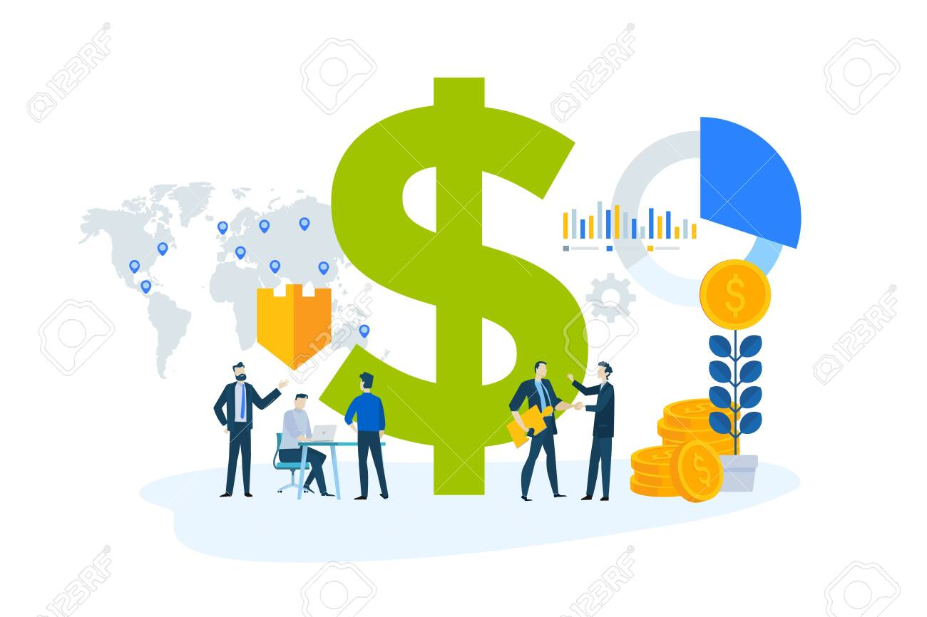 Flat design concept of global investment, market trends, economic analysis, banking, insurance. - 128195036