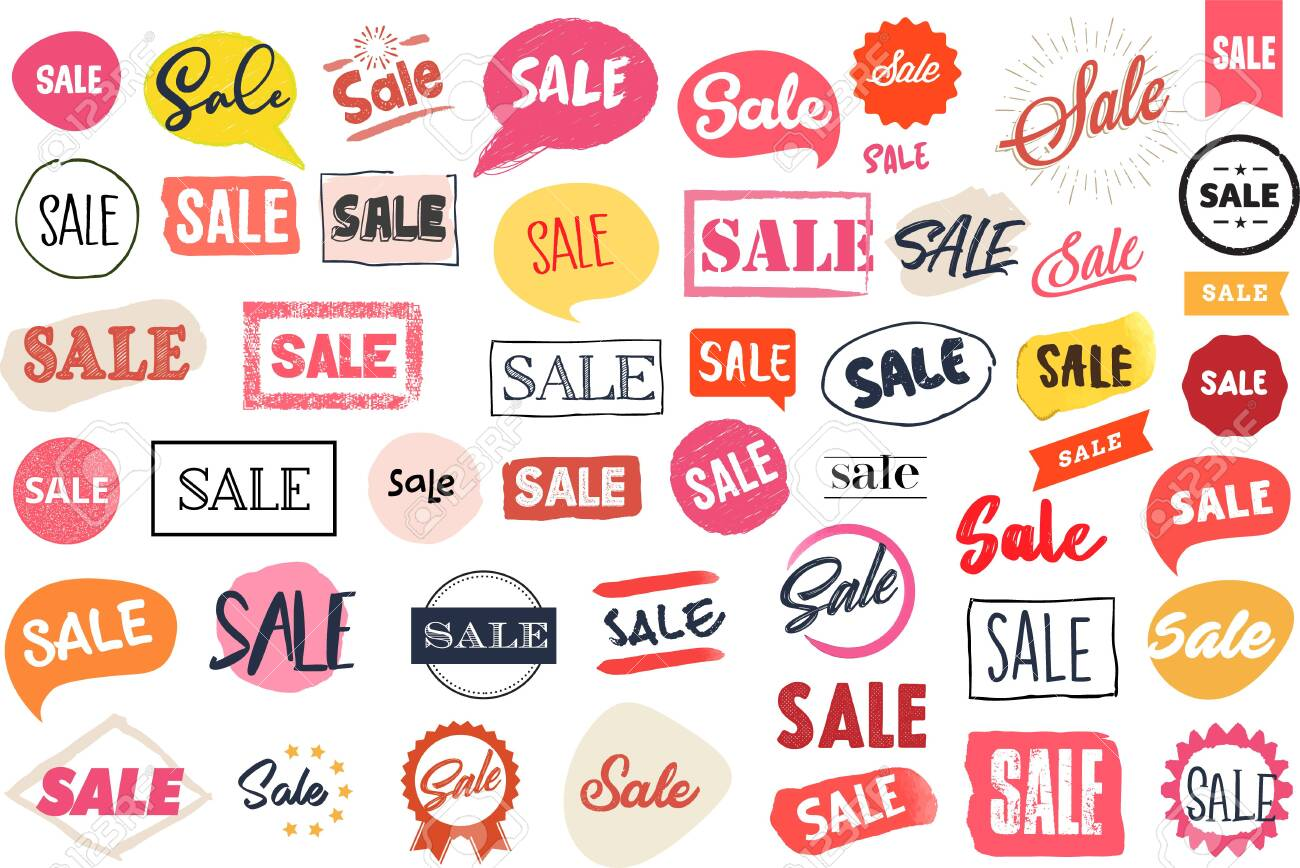 Set of labels and stickers for sale - 129546955