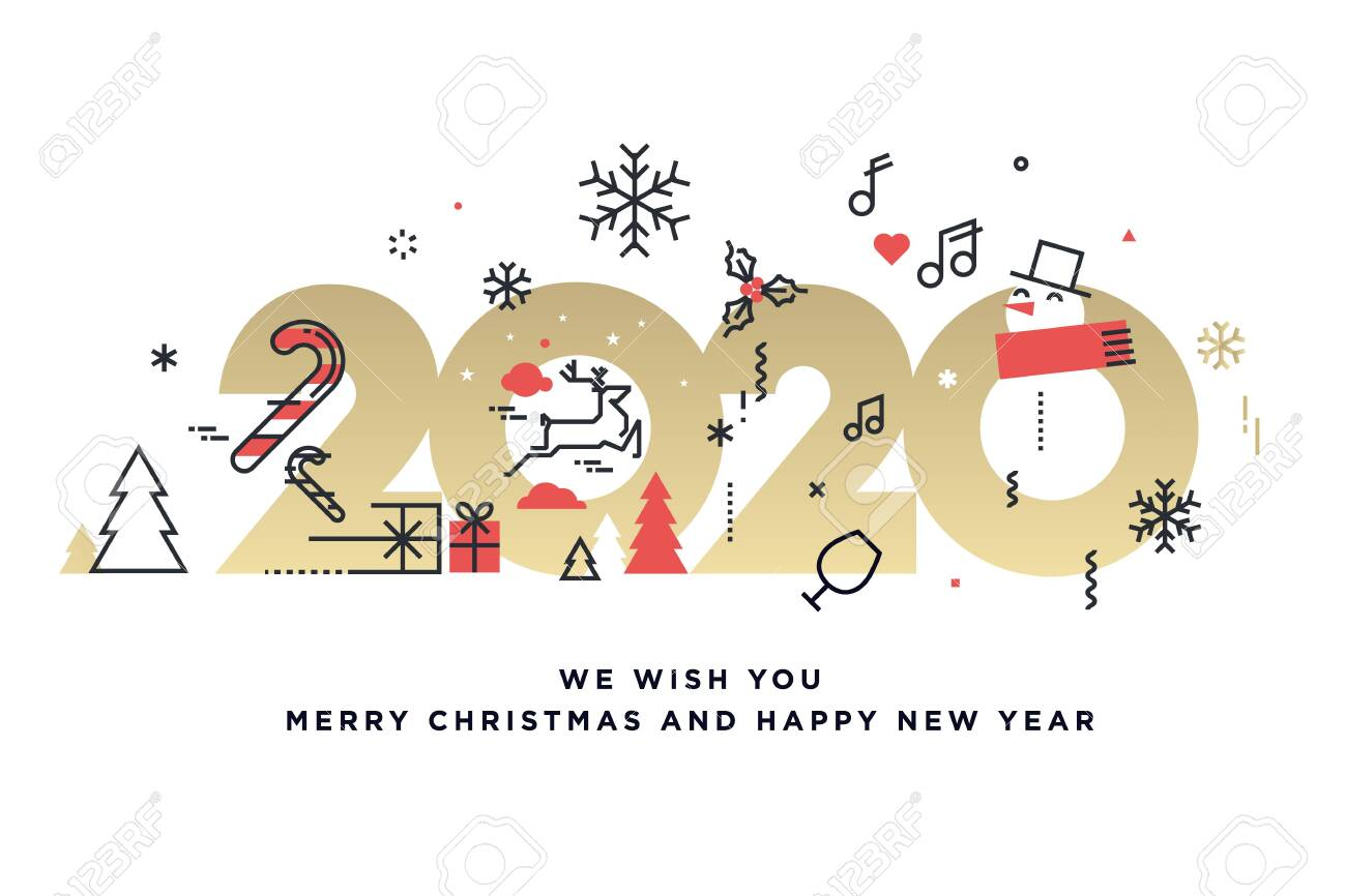 Merry Christmas and Happy New Year 2020. - 134886927