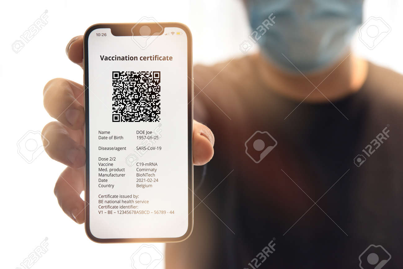Digital certificate of vaccination against. Travel concept during pandemic. - 167164339