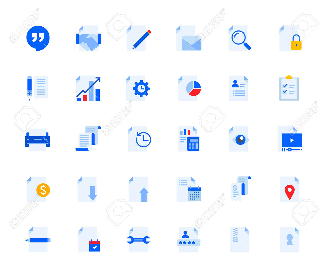 Business document icons set for personal and business use. - 168285543