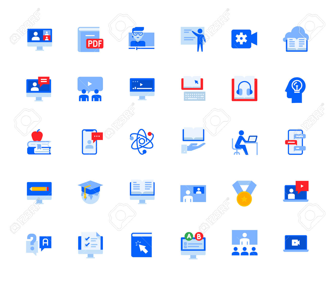 Video call and online meeting icons set for personal and business use. Vector illustration icons for graphic and web design, app development, marketing material and business presentation. - 167494381