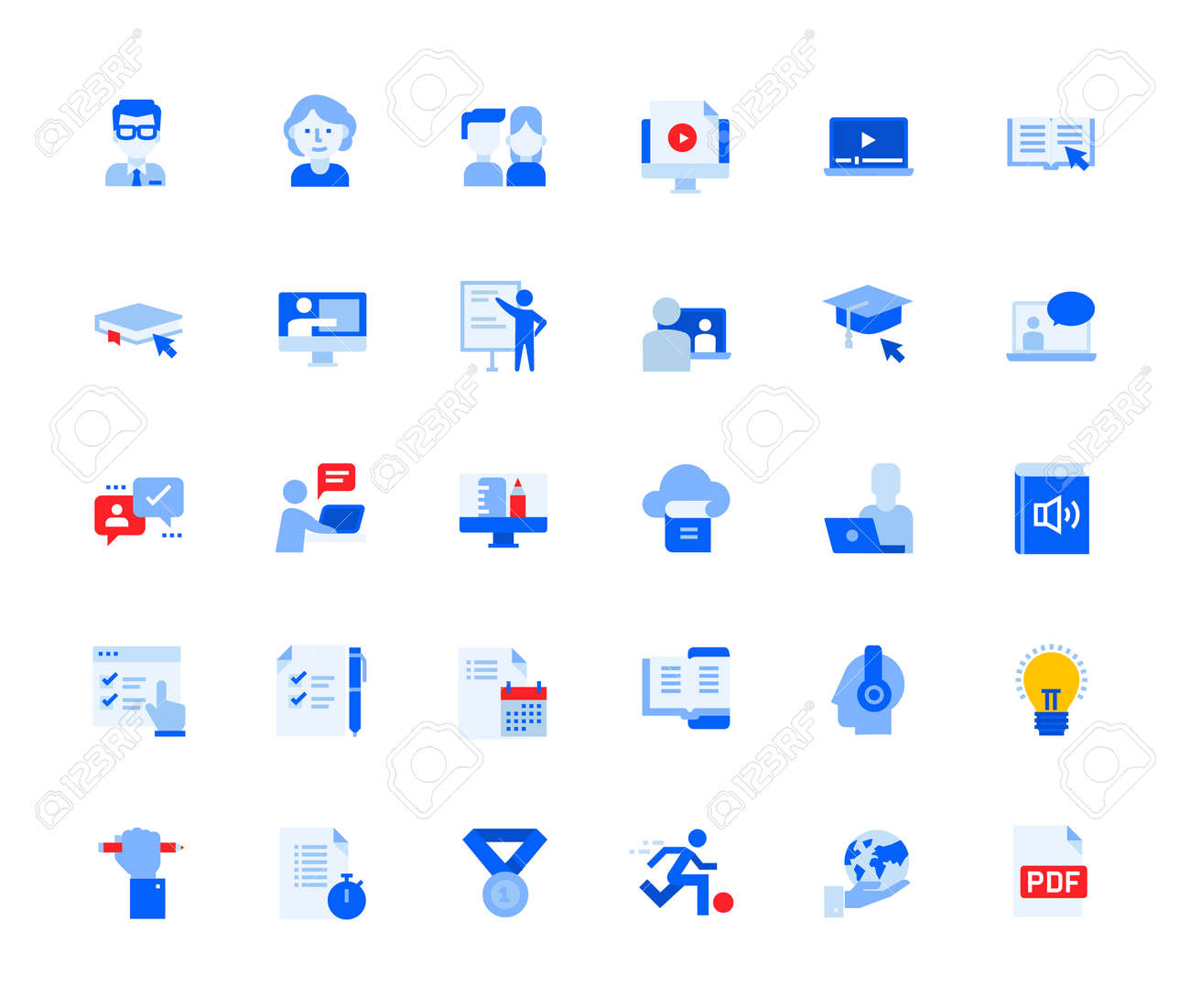 Distance education icons set for personal and business use. - 168285545