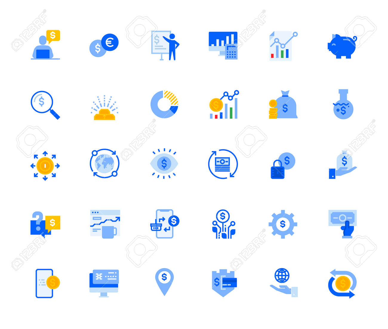 Finance icons set for personal and business use. Vector illustration icons for graphic and web design, app development, marketing material and business presentation. - 167494326