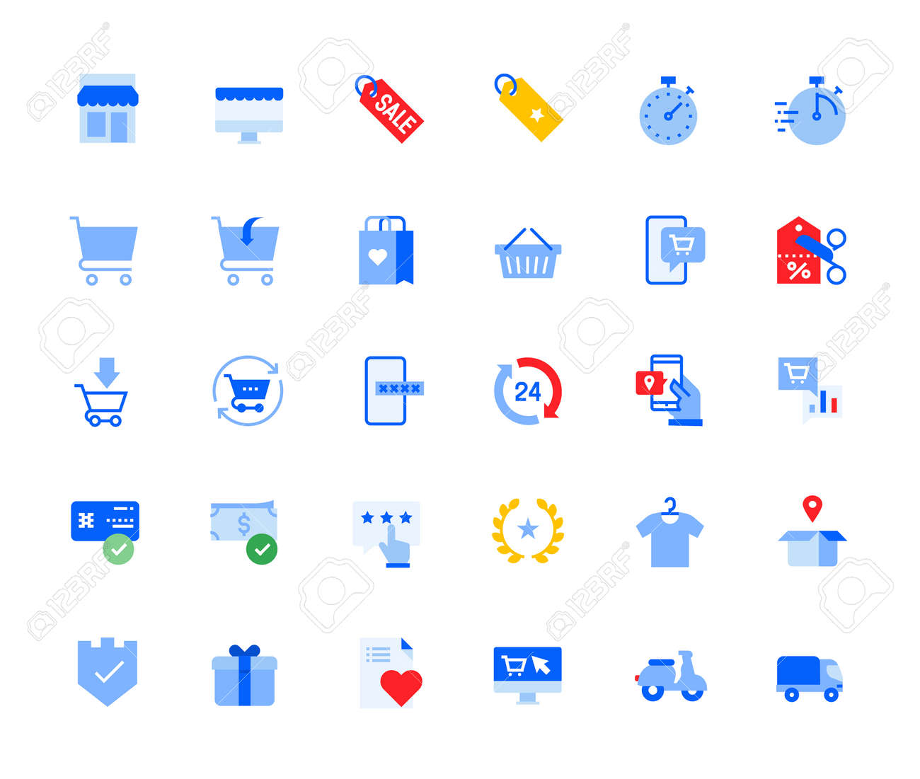 Online shopping icons set for personal and business use. Vector illustration icons for graphic and web design, app development, marketing material and business presentation. - 167494847