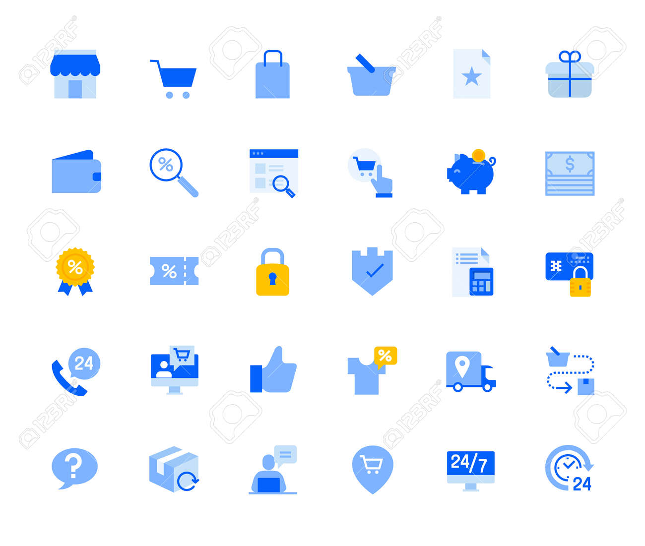 Shopping and e-commerce icons set for personal and business use. Vector illustration icons for graphic and web design, app development, marketing material and business presentation. - 167494935