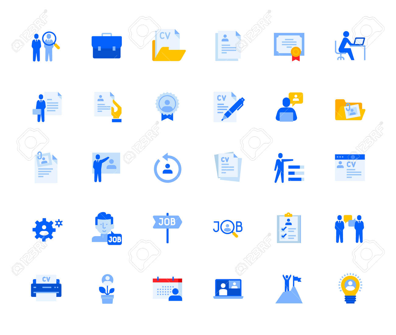Career and human resources icons set for personal and business use. - 168285549