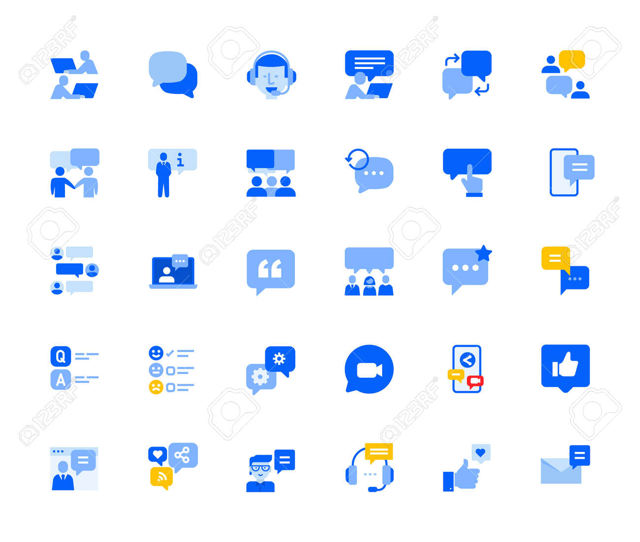 Online communication and networking icons set for personal and business use. - 168285555